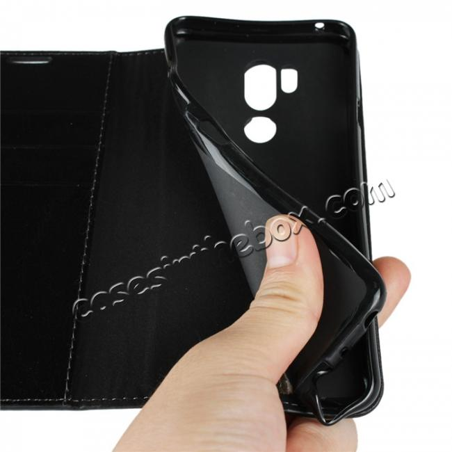 on sale For LG G7 Crazy Horse Genuine Leather Case Flip Stand Card Slot - Black