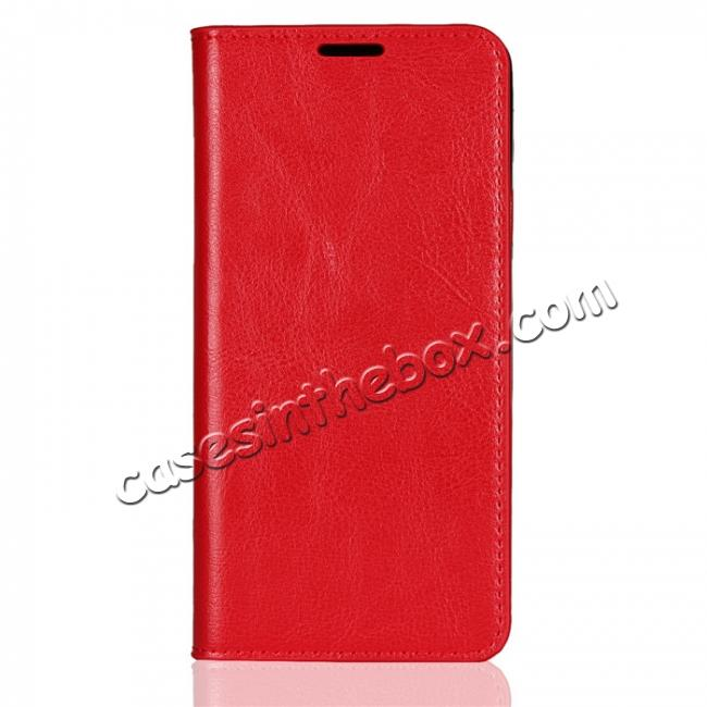 discount For LG G7 Crazy Horse Genuine Leather Case Flip Stand Card Slot - Red