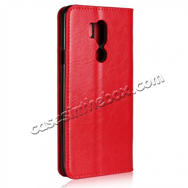 cheap For LG G7 Crazy Horse Genuine Leather Case Flip Stand Card Slot - Red