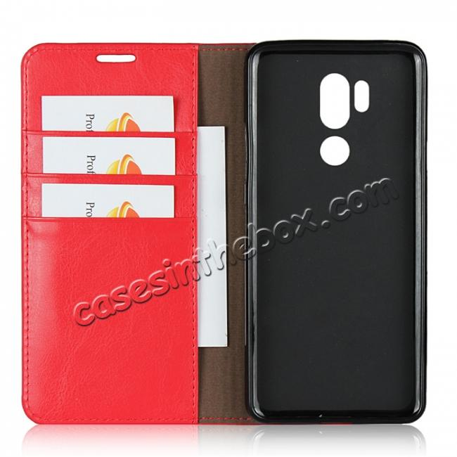 best price For LG G7 Crazy Horse Genuine Leather Case Flip Stand Card Slot - Red