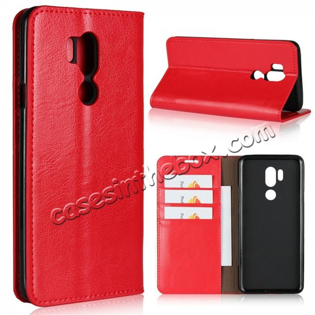 wholesale For LG G7 Crazy Horse Genuine Leather Case Flip Stand Card Slot - Red