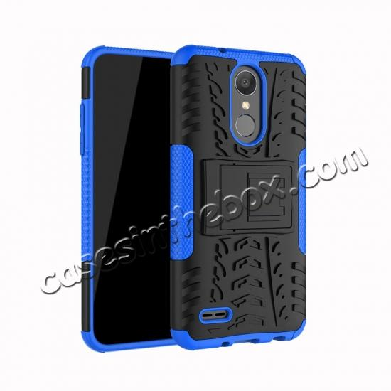 wholesale For LG LV3 2018 / LG Aristo 2 Shockproof Hybrid Kickstand Rubber Hard Case Cover - Blue
