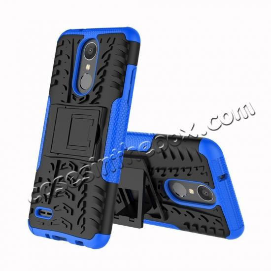 discount For LG LV3 2018 / LG Aristo 2 Shockproof Hybrid Kickstand Rubber Hard Case Cover - Blue