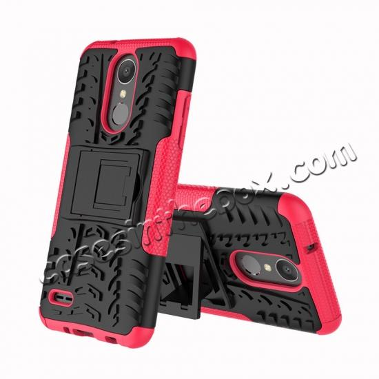discount For LG LV3 2018 / LG Aristo 2 Shockproof Hybrid Kickstand Rubber Hard Case Cover - Hot pink