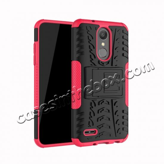 wholesale For LG LV3 2018 / LG Aristo 2 Shockproof Hybrid Kickstand Rubber Hard Case Cover - Hot pink