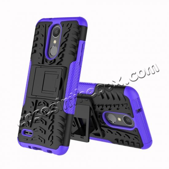 discount For LG LV3 2018 / LG Aristo 2 Shockproof Hybrid Kickstand Rubber Hard Case Cover - Purple