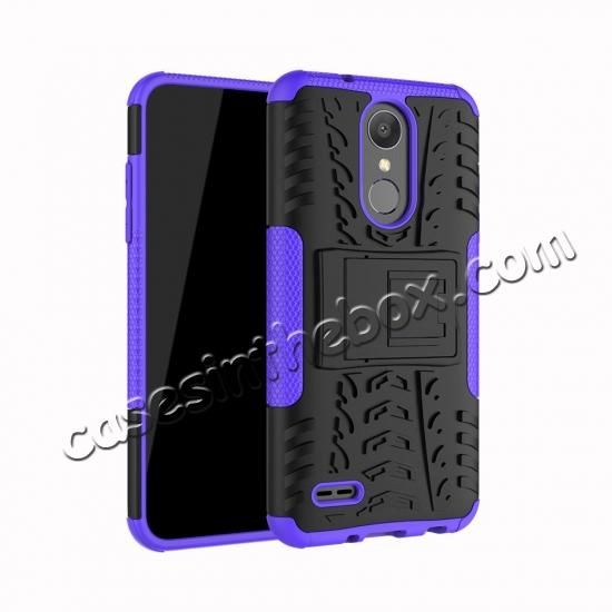 wholesale For LG LV3 2018 / LG Aristo 2 Shockproof Hybrid Kickstand Rubber Hard Case Cover - Purple