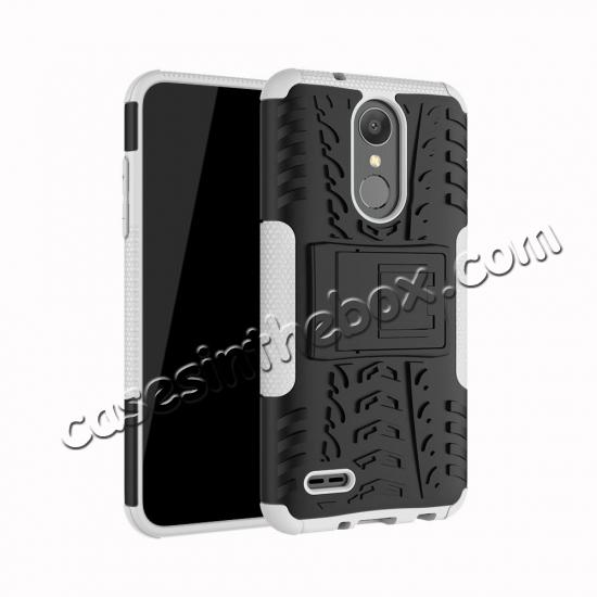 wholesale For LG LV3 2018 / LG Aristo 2 Shockproof Hybrid Kickstand Rubber Hard Case Cover - White
