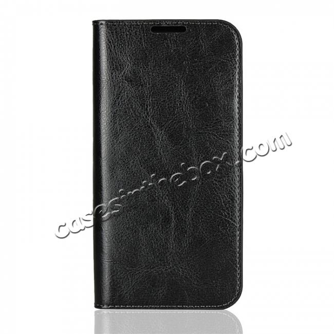 discount For Motorola Moto G6 Plus Crazy Horse Genuine Leather Case Flip Stand Card Slot - Black