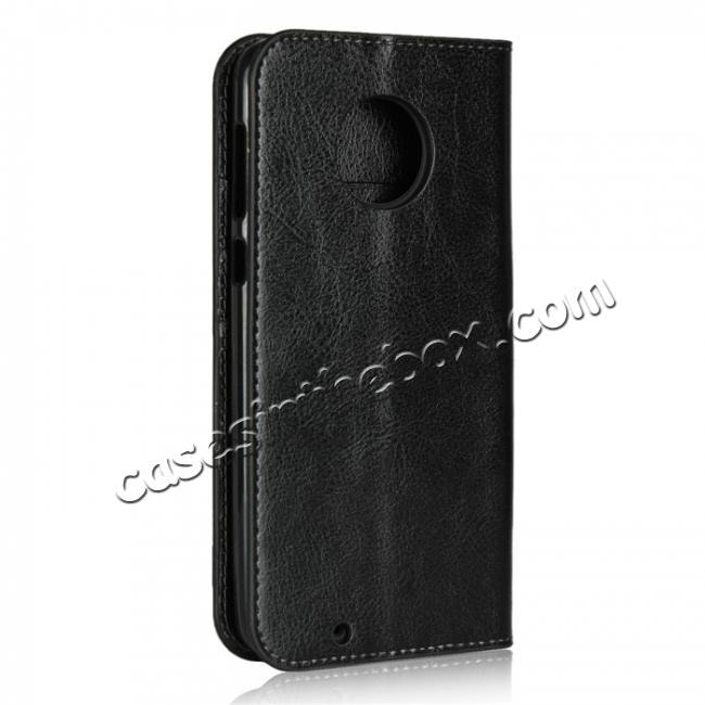 cheap For Motorola Moto G6 Plus Crazy Horse Genuine Leather Case Flip Stand Card Slot - Black