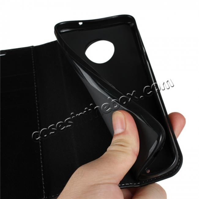 on sale For Motorola Moto G6 Plus Crazy Horse Genuine Leather Case Flip Stand Card Slot - Black