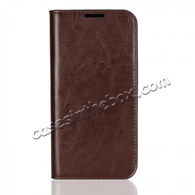 discount For Motorola Moto G6 Plus Crazy Horse Genuine Leather Case Flip Stand Card Slot - Coffee