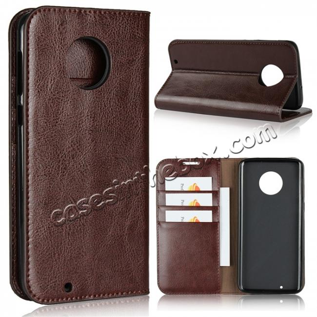 wholesale For Motorola Moto G6 Plus Crazy Horse Genuine Leather Case Flip Stand Card Slot - Coffee