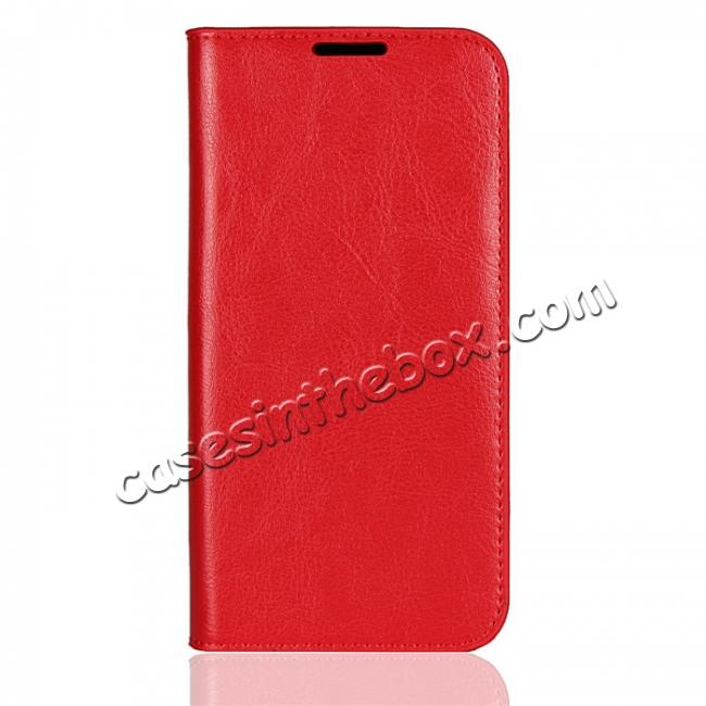 discount For Motorola Moto G6 Plus Crazy Horse Genuine Leather Case Flip Stand Card Slot - Red