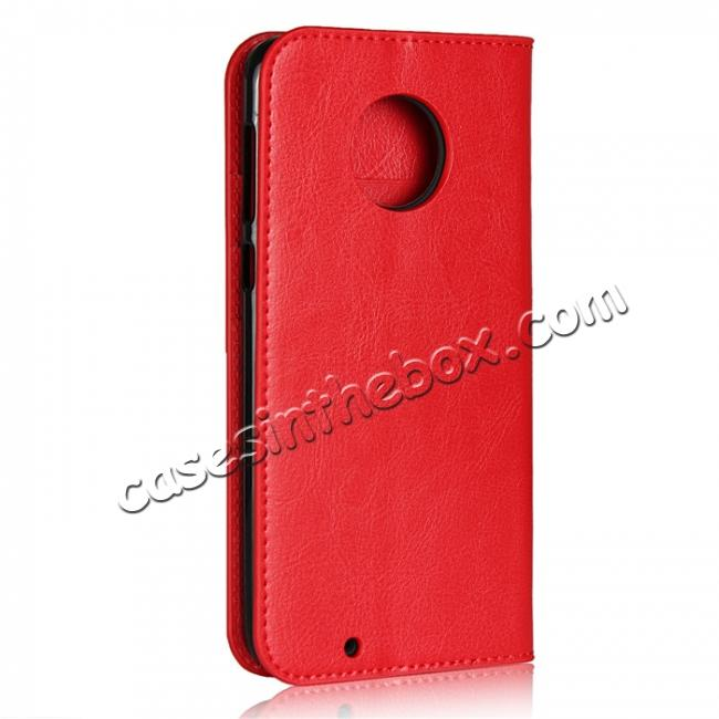 cheap For Motorola Moto G6 Plus Crazy Horse Genuine Leather Case Flip Stand Card Slot - Red
