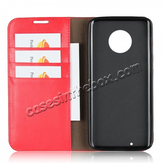 best price For Motorola Moto G6 Plus Crazy Horse Genuine Leather Case Flip Stand Card Slot - Red