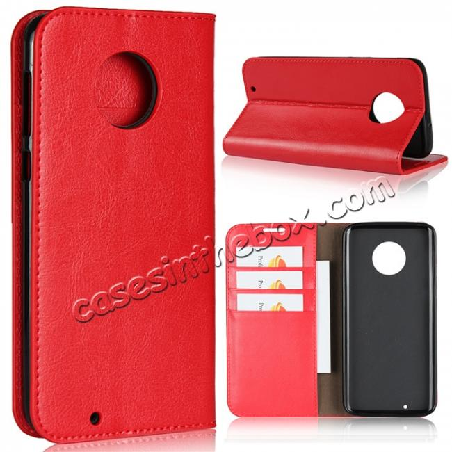 wholesale For Motorola Moto G6 Plus Crazy Horse Genuine Leather Case Flip Stand Card Slot - Red