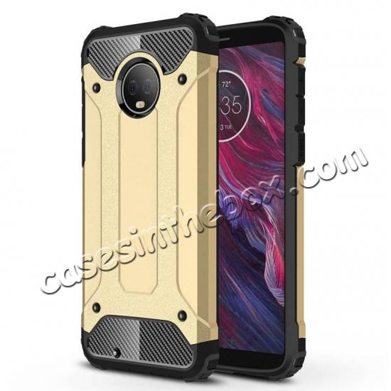 wholesale For Motorola Moto G6 Rugged Armor Hybrid Shockproof Back Case Cover - Gold