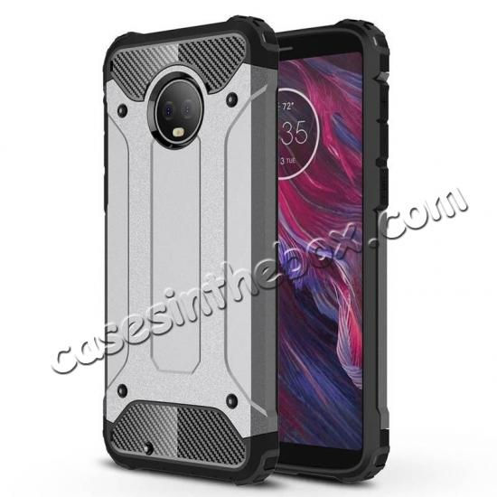 wholesale For Motorola Moto G6 Rugged Armor Hybrid Shockproof Back Case Cover - Gray