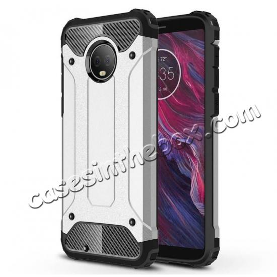 on sale For Motorola Moto G6 Rugged Armor Hybrid Shockproof Back Case Cover - Red