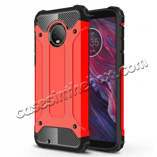 top quality For Motorola Moto G6 Rugged Armor Hybrid Shockproof Back Case Cover - Red