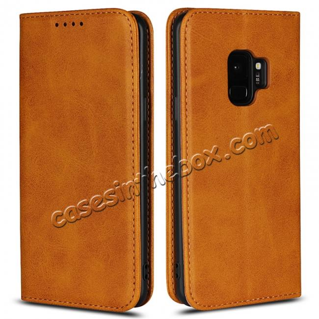wholesale For Samsung Galaxy S9 Leather Case Premium Leather Slim Flip Wallet Case for Samsung Galaxy S9 - Brown