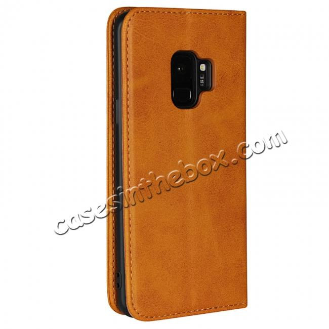 cheap For Samsung Galaxy S9 Leather Case Premium Leather Slim Flip Wallet Case for Samsung Galaxy S9 - Brown