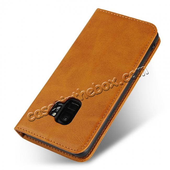 best price For Samsung Galaxy S9 Leather Case Premium Leather Slim Flip Wallet Case for Samsung Galaxy S9 - Brown