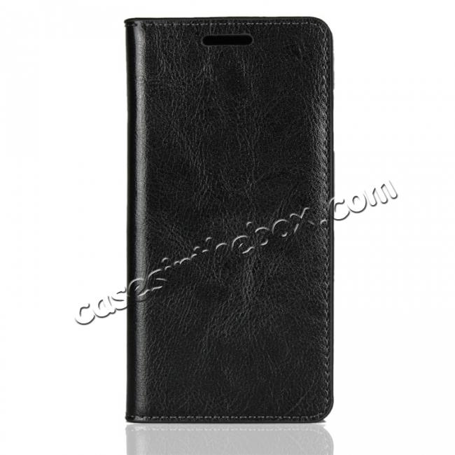 discount For Sony Xperia XZ2 Compact Crazy Horse Genuine Leather Case Flip Stand Card Slot - Black