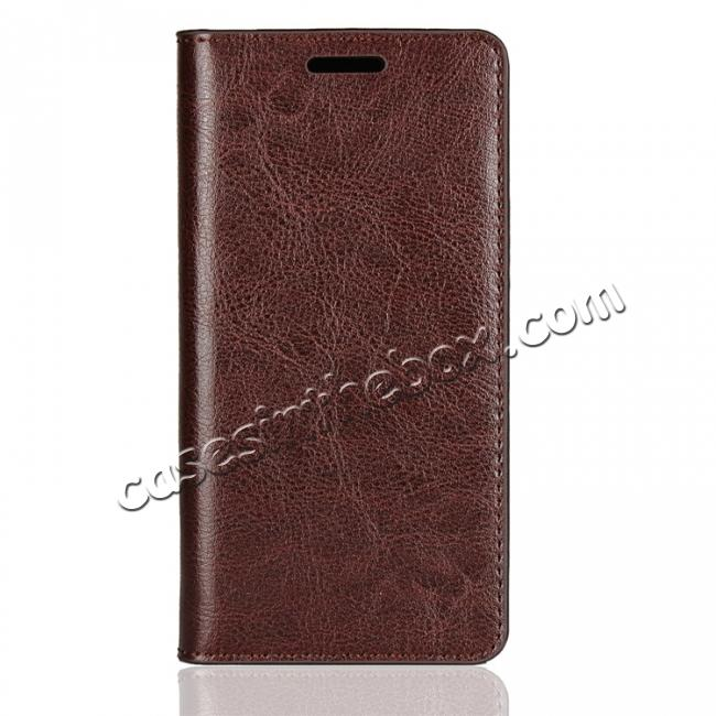 discount For Sony Xperia XZ2 Compact Crazy Horse Genuine Leather Case Flip Stand Card Slot - Coffee