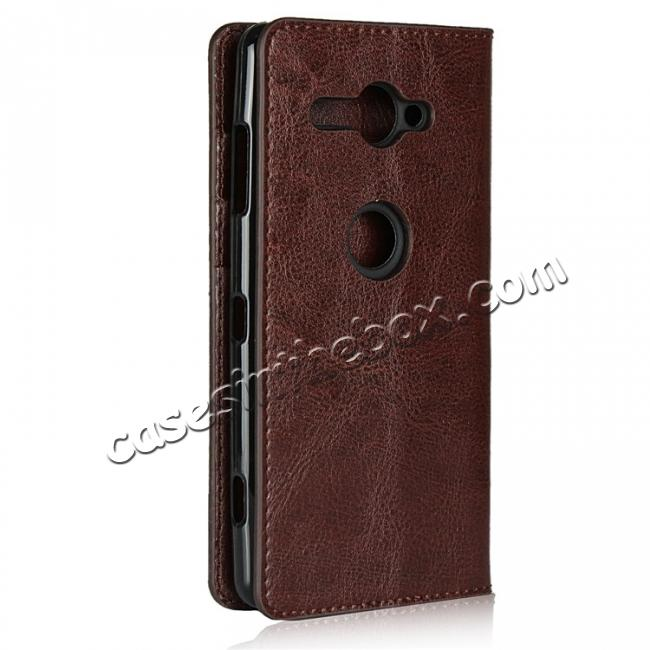 cheap For Sony Xperia XZ2 Compact Crazy Horse Genuine Leather Case Flip Stand Card Slot - Coffee