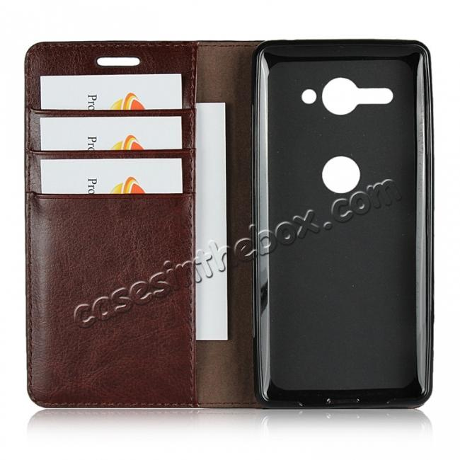 best price For Sony Xperia XZ2 Compact Crazy Horse Genuine Leather Case Flip Stand Card Slot - Coffee