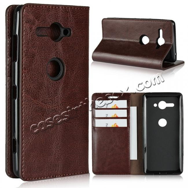 wholesale For Sony Xperia XZ2 Compact Crazy Horse Genuine Leather Case Flip Stand Card Slot - Coffee