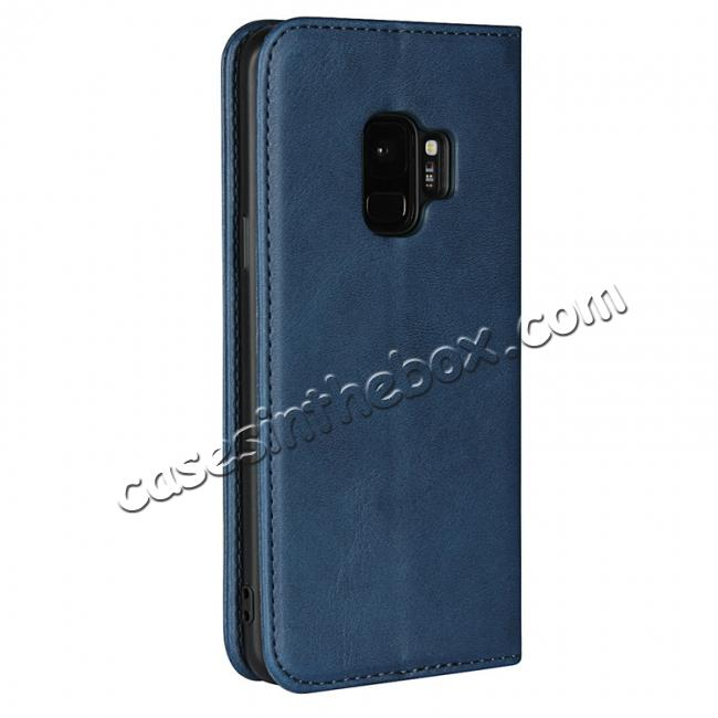 cheap For Samsung S9 Leather Case Premium Leather Slim Flip Wallet Case for Samsung Galaxy S9 - Dark Blue