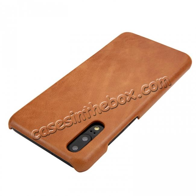 top quality Genuine Leather Matte Back Hard Case Cover for Huawei P20 Pro - Brown