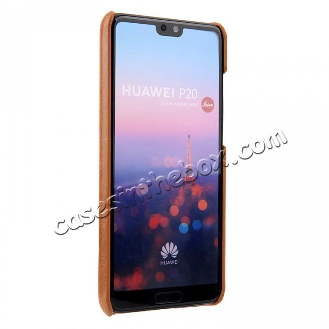 cheap Genuine Leather Matte Back Hard Case Cover for Huawei P20 Pro - Brown
