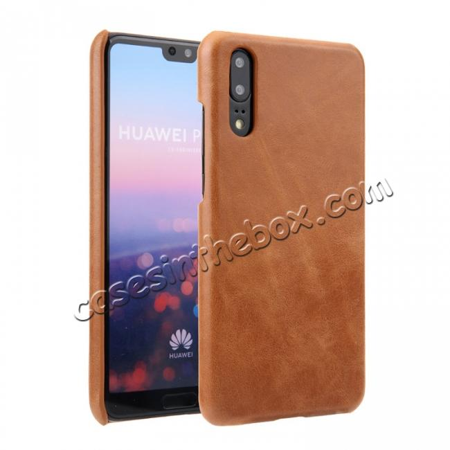 wholesale Genuine Leather Matte Back Hard Case Cover for Huawei P20 Pro - Brown