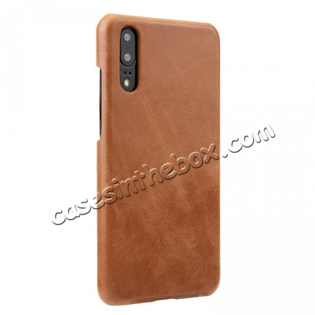 discount Genuine Leather Matte Back Hard Case Cover for Huawei P20 Pro - Brown