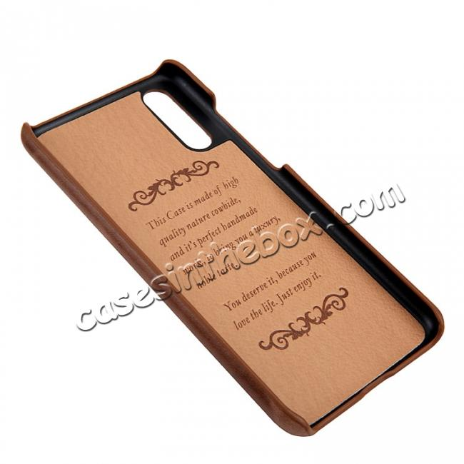 on sale Genuine Leather Matte Back Hard Case Cover for Huawei P20 Pro - Brown