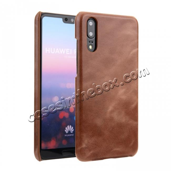 wholesale Genuine Leather Matte Back Hard Case Cover for Huawei P20 Pro - Dark Brown