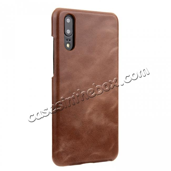 discount Genuine Leather Matte Back Hard Case Cover for Huawei P20 Pro - Dark Brown