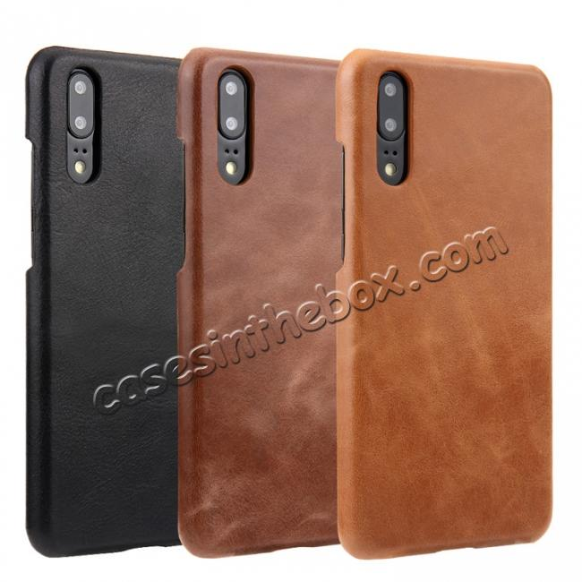 on sale Genuine Leather Matte Back Hard Case Cover for Huawei P20 Pro - Dark Brown