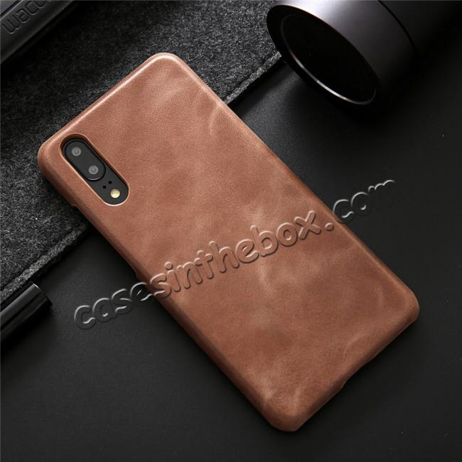 best price Genuine Leather Matte Back Hard Case Cover for Huawei P20 Pro - Dark Brown