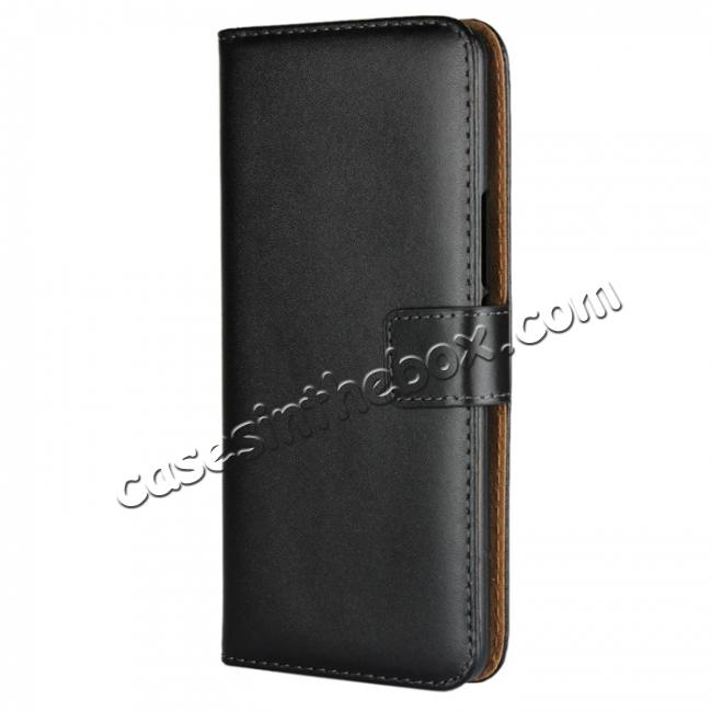 discount Genuine Leather Stand Wallet Case for HTC U11 Plus with Card Slots&holder - Black