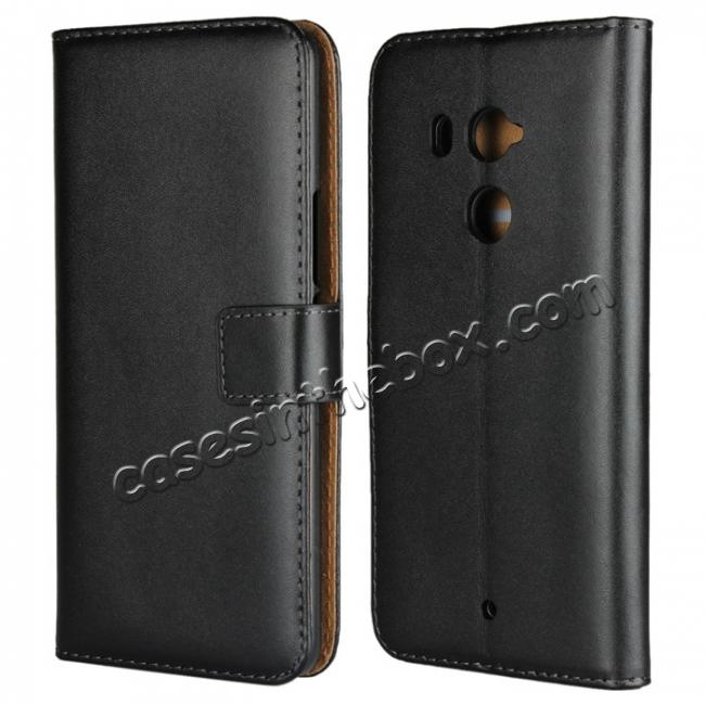 wholesale Genuine Leather Stand Wallet Case for HTC U11 Plus with Card Slots&holder - Black