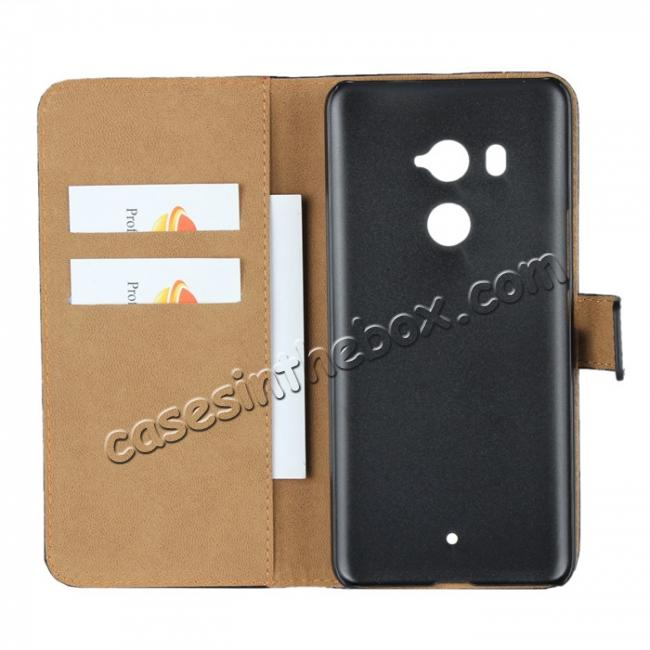 on sale Genuine Leather Stand Wallet Case for HTC U11 Plus with Card Slots&holder - Black
