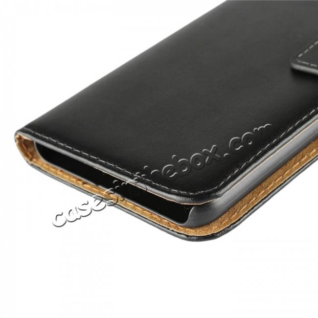 high quanlity Genuine Leather Stand Wallet Case for HTC U11 Plus with Card Slots&holder - Black