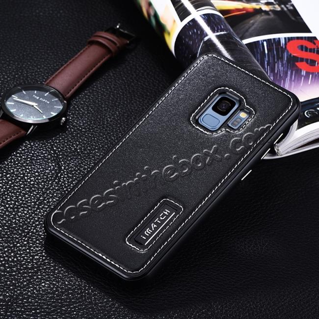 discount Luxury Aluminum Genuine Leather Back Cover Case For Samsung Galaxy S9 Plus - Black