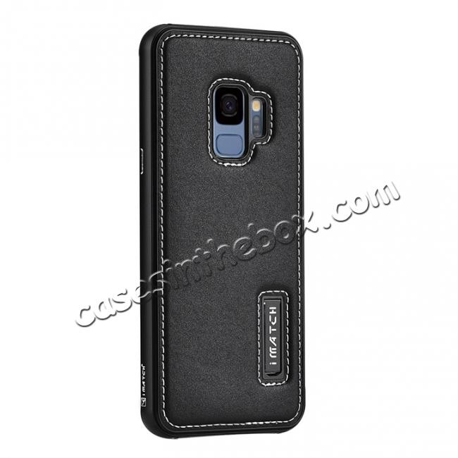 wholesale Luxury Aluminum Genuine Leather Back Cover Case For Samsung Galaxy S9 Plus - Black