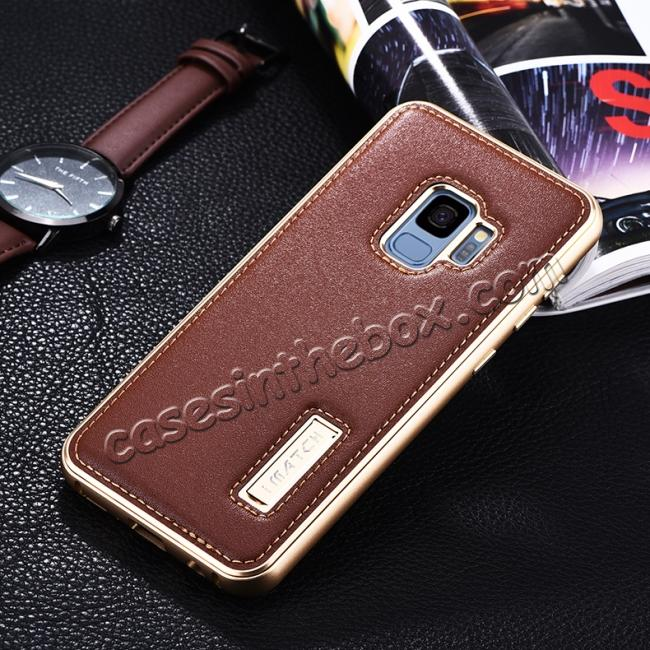 discount Luxury Aluminum Genuine Leather Back Cover Case For Samsung Galaxy S9 Plus - Gold&Brown